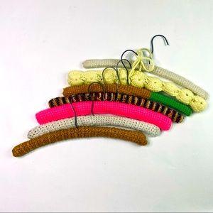 Vintage Knit Crochet 7 Hangers Lot Closet 60s